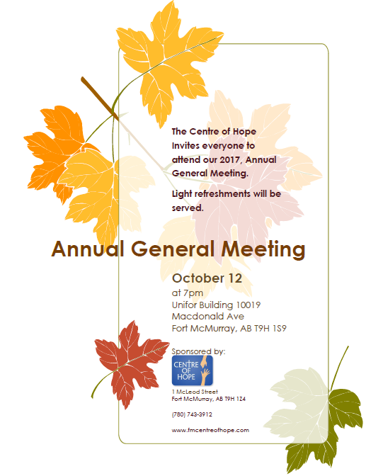 AGM - Thursday Oct 12 2017